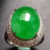 豪鑲老坑種正陽綠蛋面介子