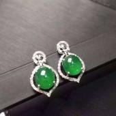 18K金鑽翡翠耳環