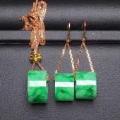 辣綠路路通頸鏈,耳環套裝