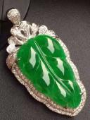 滿色辣綠樹葉吊咀豪華鑲鑽