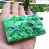 飄陽綠翡翠山水掛件
