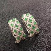 18K金鑽豪鑲高冰綠耳環(已售)